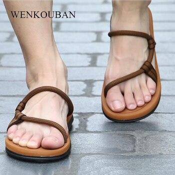 2019 Summer Beach Shoes Men Casual Sandals Gladiator Roman Sandalias Male Shoes Adult Slip-on Flat Flip Flops Zapatos De Hombre
