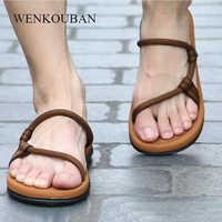 2020 Summer Beach Shoes Men Casual Sandals Gladiator Roman Sandalias Male Shoes Adult Slip-on Flat Flip Flops Zapatos De Hombre