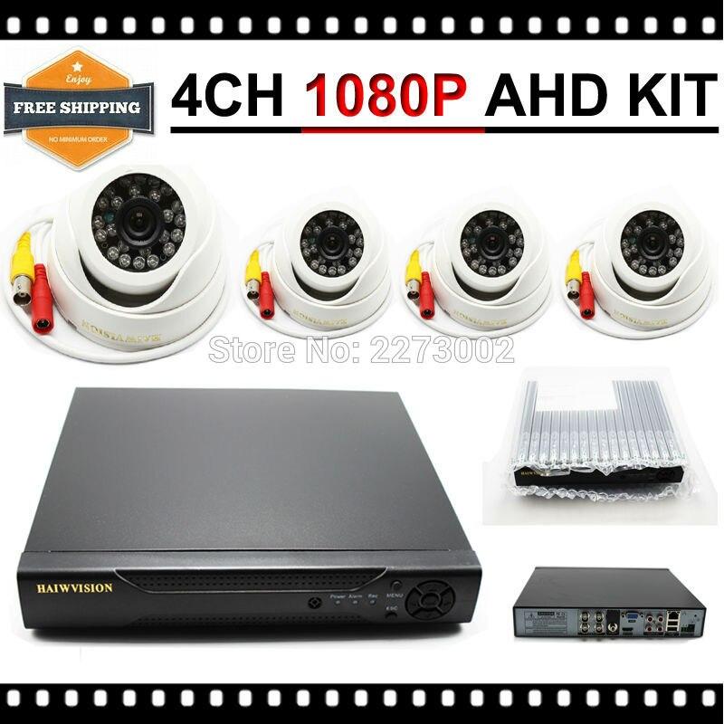 HKES 1280* 720P HD 2500TVL Indoor Security Camera System 1080P HDMI CCTV Video Surveillance 4CH DVR Kit AHD Camera Set