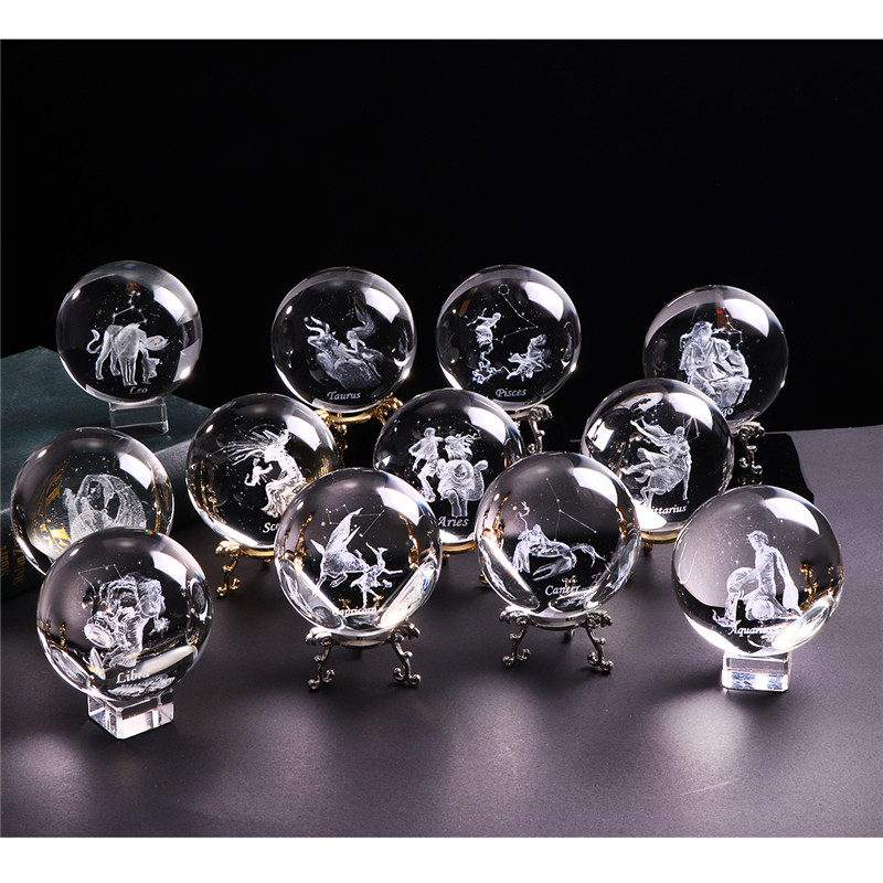 60 MM 3D Zodiac Sign Star Crystal Ball Laser Engraved Glass Sphere Crystal Craft Home Decor Birthday Gift Ornament