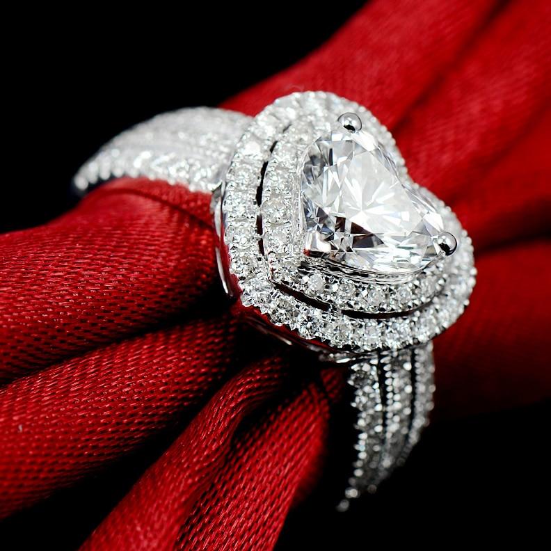 Фирменная Новинка choucong Роскошные ювелирные изделия чистый 100% 925 пробы серебро проложить сердце Форма 5A белый прозрачный циркония обручальное кольцо подарок