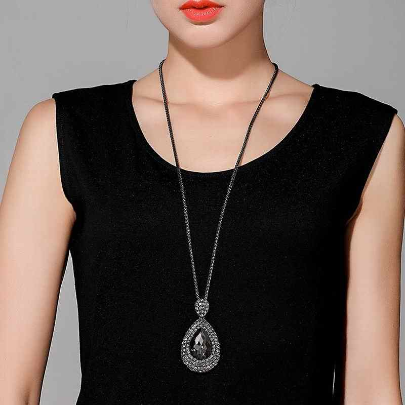 a868259c548 ... Shinning Water Drop Rhinestone Long Necklace Women Bijoux Fashion  Simple Sweater Pendant Jewelry Accessories ...