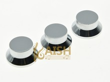 3pcs Chrome Metal ST Strat Knobs Top Hat Bell Guitar Bass Knob for 5.8mm Pots