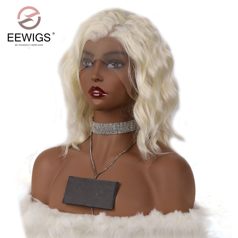 EEWIGS Short Bob Natural Wave Lace Front Wigs With Baby Hair For Women White Heat Resistant Middle Part Synthetic Lace Front Wig
