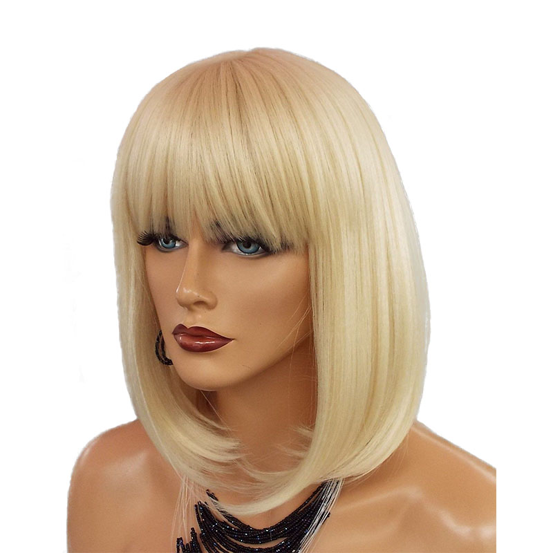 613 Lace Front Wig Blonde Short Bob With Bangs Brazilian Straight Human Hair Wigs For Women