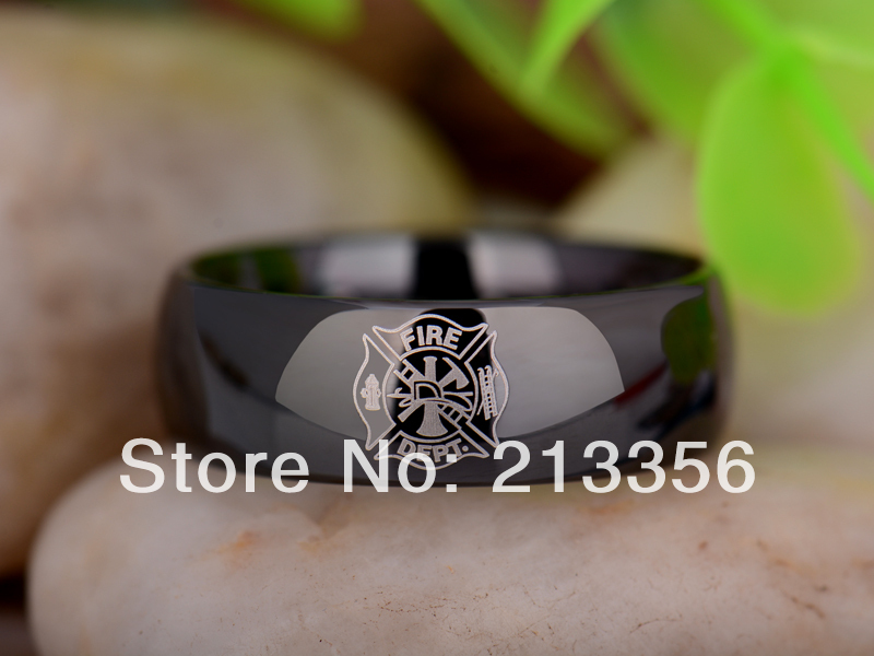 free shipping uk russia brazil usa hot selling 8mm black dome firefighter new mens lord fashion tungsten carbide wedding ring - Firefighter Wedding Rings