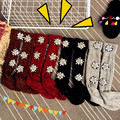 Outono e inverno flores do sol são todo o jogo Strass perna flanging meias de lã meias vertebral alta pilha tubo