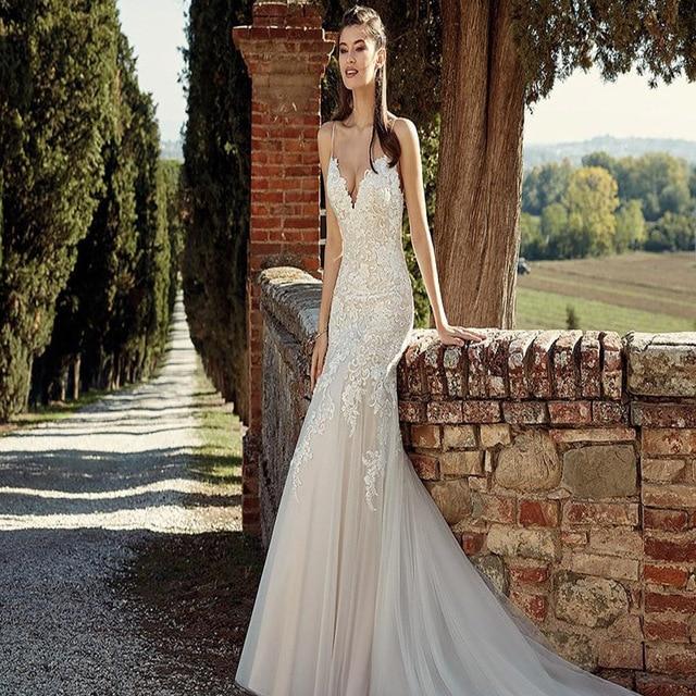 Cheap Vestido de Novia 2019 Sexy Spaghetti Strap Lace Mermaid Bohemian Wedding Dress Custom Made Boho Beach Wedding Gowns