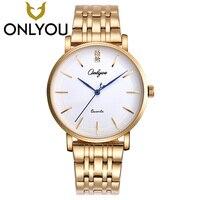 ONLYOU Mens Watches Top Brand Luxury Fashion Gold Watch Women Dress Quartz Stainless Steel Band Clock Lover Wristwatch Wholesale