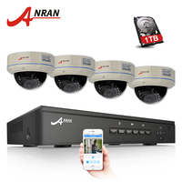 4CH POE NVR All In One CCTV System Onvif 1080P HD Vandalproof Dome IR IP Camera