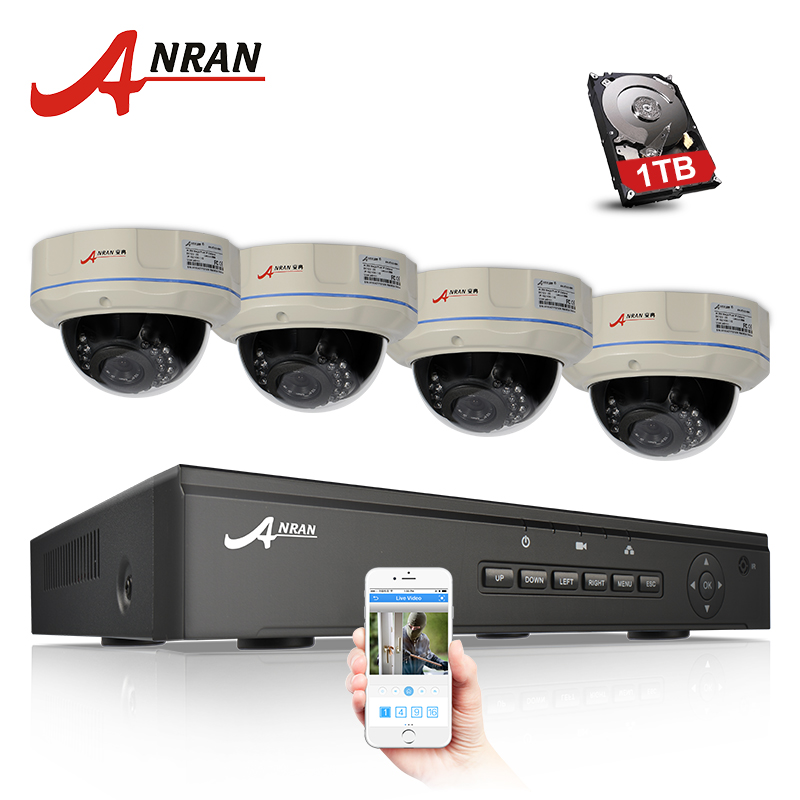 ANRAN 4CH NVR 48V POE CCTV System Onvif P2P 1080P 2.0MP Ful HD Vandalproof Dome IR POE IP Camera Security Surveillance Kit techage 4ch 1080p hd poe nvr 2 0mp cctv system vandalproof dome ip indoor outdoor camera p2p ir night vision surveillance kit