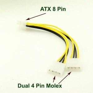 Image 1 - 1 stks ATX 8 Pin EPS12V Dual 4 Pin Molex Mannelijke Moederbord Voeding Adapter Kabel