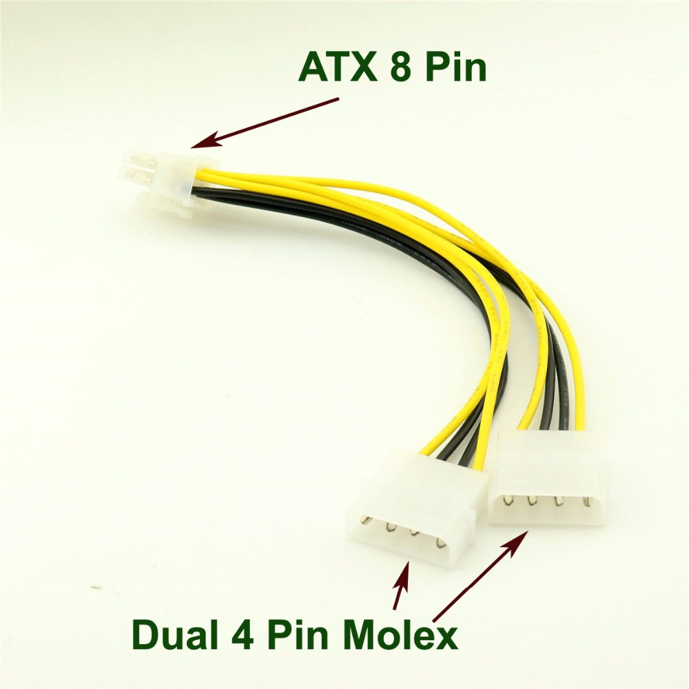 1pcs ATX 8 Pin EPS12V To Dual 4 Pin Molex Male Motherboard Power Supply Adapter Cable