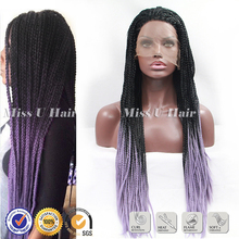Synthetic braiding hair ombre purple micro braided wigs natural lace front wig braiding hair wig braid