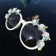 Whtie Круглые бриллианты роскошные солнцезащитные очки для мужчин и женщин Модные Оттенки UV400 Винтажные Очки блестящие солнцезащитные очки для отдыха с коробкой FML