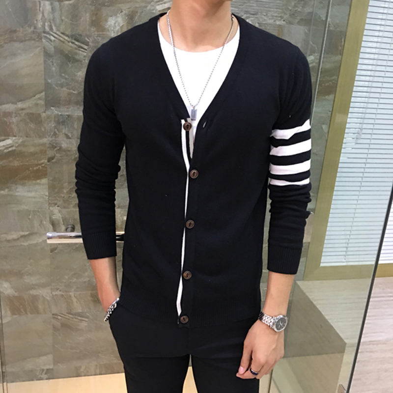 Men Cardigans Knitted Sweatercoat Thin Style Deep V Collar Long Sleeve Stripes Single Breasted Casual Slim Fit Sweater Male