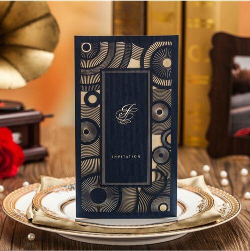 Royal Blue Red Coffee Laser Cut Vine Wedding Invitations Card 50pcs Lot