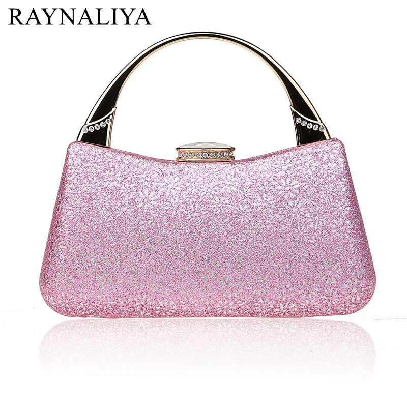 2017 New Design Pink Lady Banquet Handbag Clutch Party Bridal Evening Bag Women With Shoulder Chain Makeup Bag SMYSFX-E0226 new fashion women party clutch bag pu leather hollow metal bow buckle evening bag female banquet handbag with shoulder chain