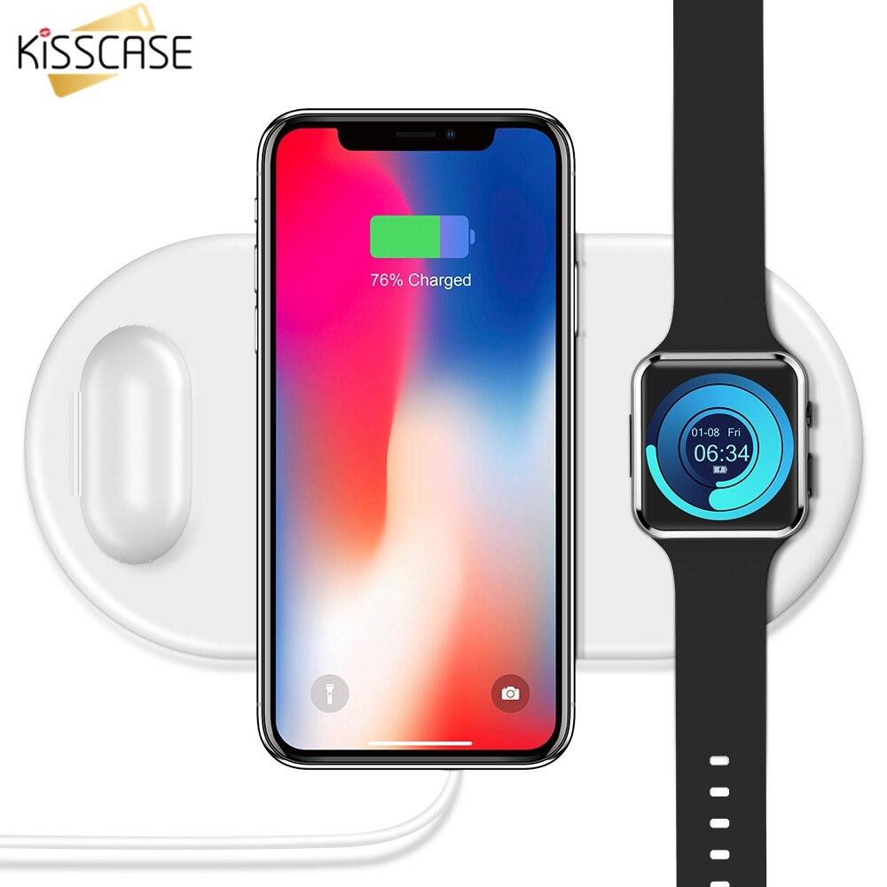KISSCASE 3 In1 QI Caricatore Senza Fili Per iPhone 8 X Xr XS Max Orologio Caricatore Senza Fili Per AirPods Mobile Della Vigilanza telefono di Ricarica Veloce