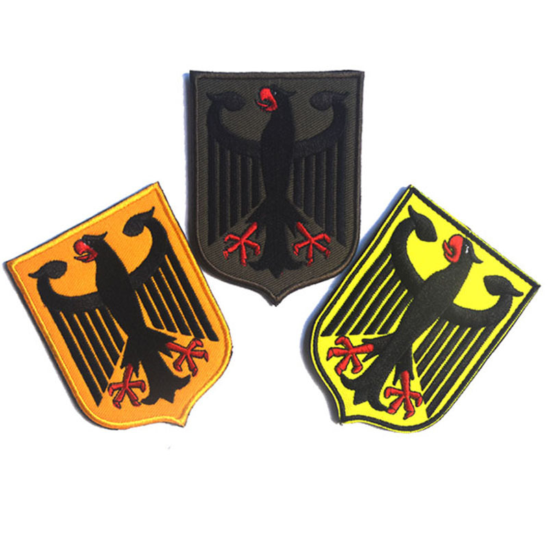 US $4 14 8% OFF|German eagle shield Patch 3D Embroidery Tactical Patch  Military Hook and Loops Morael Armband Cloth Army Combat Badge-in Patches  from