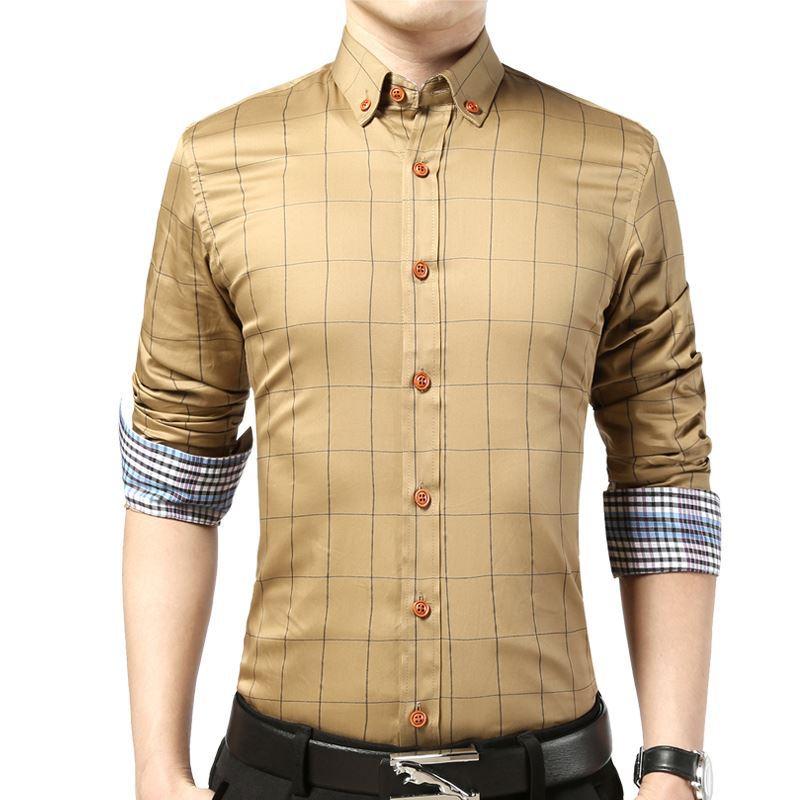 100% Cotton Brand Men Clothes Slim Fit Men Long Sleeve Shirt Male Plaid Brand Casual Man Shirt Social Plus Size M-5xl