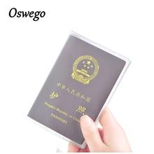 OSWEGO Transparent Passport Holder Kártyatartó PVC Vízálló Travel Passport Cover
