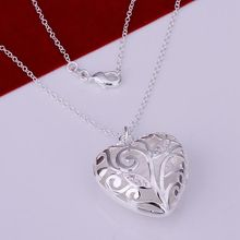 Pretty Silver Plated Necklaces For Women Wholesale Free Shipping Charm Christmas Gifts Fashion Jewelry Inlaid Heart