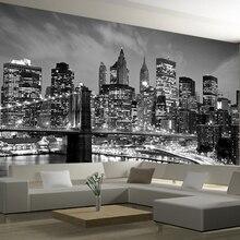 Black&White Wallpaper New York City Night Scenery 3d Photo Mural Wall paper Livi