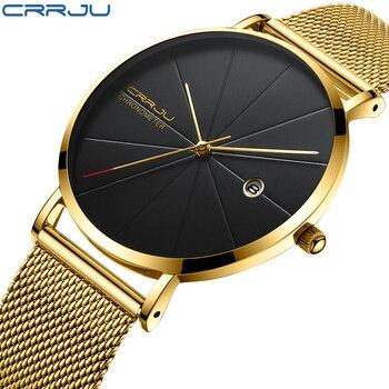 05b41450d612 CRRJU relojes hombre 2018 marcas famosas minimalista deporte clásico  inoxidable de la manera de los hombres fecha banda reloj