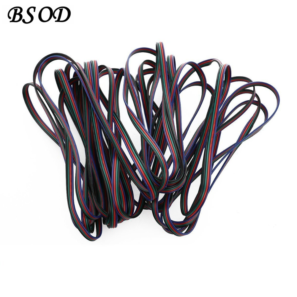 BSOD 10M Pack 4 Pins LED RGB Extension Flat Cable Wire Cord 5050/3528 Light Strip Modules etc  -  Bosonda Led Store store