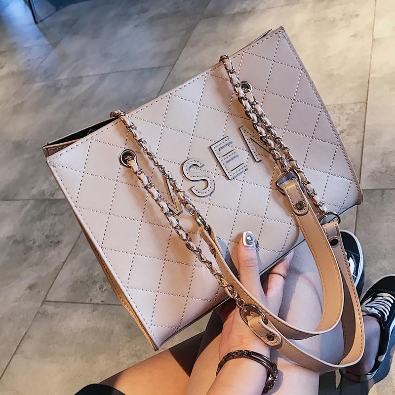 Free shipping, 2018 new fashion woman bag, trend Korean version handbags, simple diamond lattice women bag, leisure shoulder bag 4