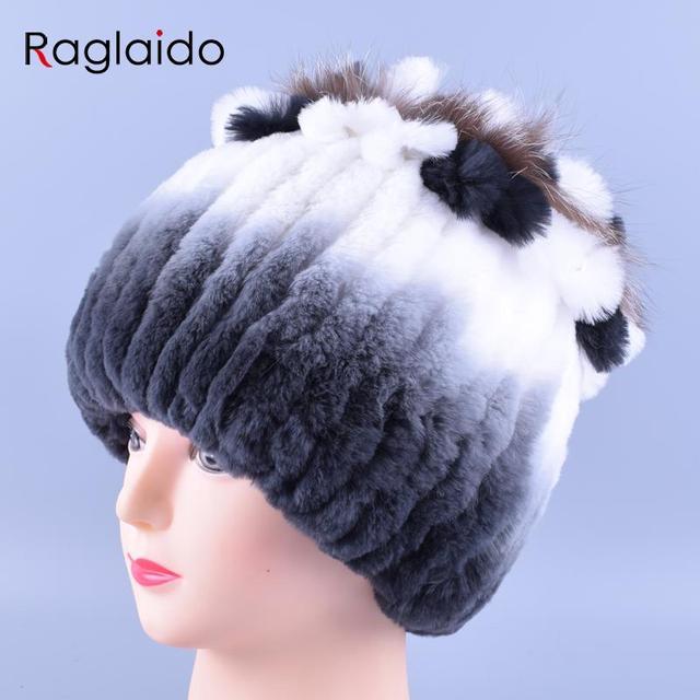 Women Winter Real Fur Rex Rabbit Hats with fox fur Skullies& Beanies Handmade Strips Gradient Cap Elastic Lady Headwear LQ11145