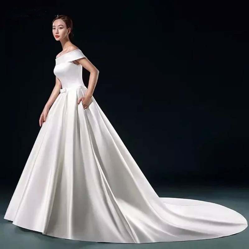 E JUE SHUNG White Satin Simple Wedding Dresses A line Off the Shoulder Cheap Wedding Gowns
