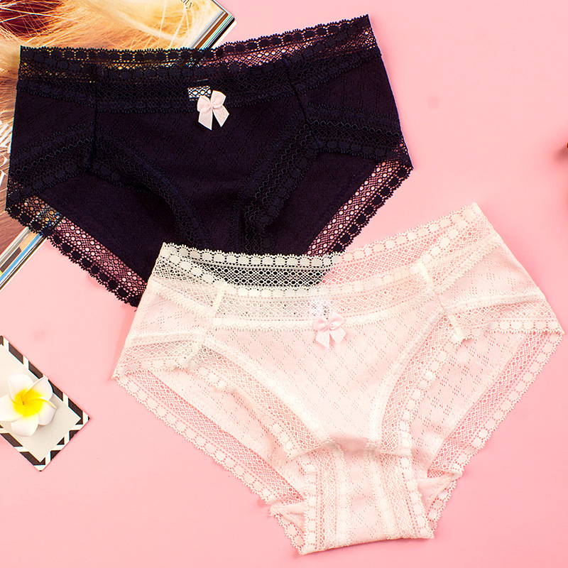 Buy SP&CITY Sweet Girl Bow Cute Lace Panties Sex Thong Fashion Solid Transparent Underwear Women Sexy Hollow Panties Lingerie