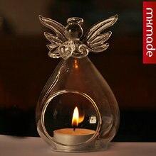 O.RoseLif Romantic Transparent Crystal Glass Angel Vase Candlesticks Dinner Frozen Party Candle Holders Wedding Decoration