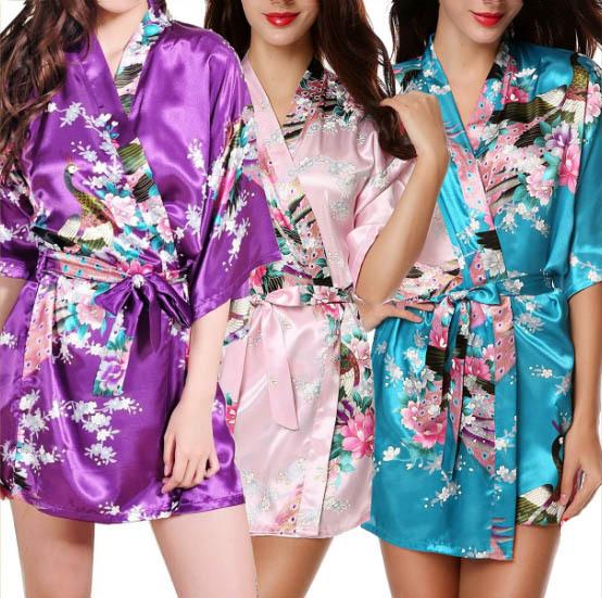 XXL Big Size Vestes De Cetim Mulheres Sexy Robe Roupão Floral Batas De Seda de cetim Peignoir Femme Robe de Seda Rosa De Cetim Robe