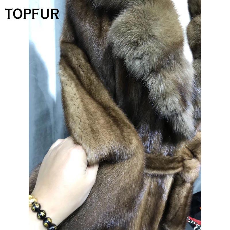 Confortable Manteaux Réel Chaud Topfur Type Avec Hiver Coffee De Outwear Nouveaux La X 2018 Lisse Prochainement Vison Manteau Fourrure Femmes long xwwCaA4Xq1