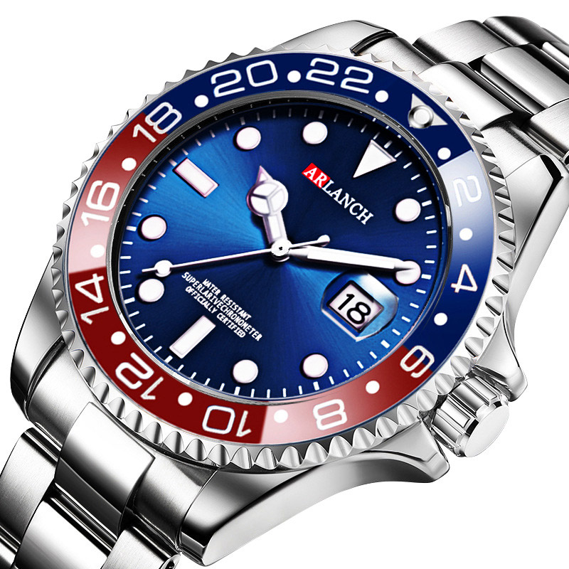 Man Watch Luxury Brand Watch Men Sports Watches Rotatable Bezel GMT Sapphire Glass Date Stainless Steel Quartz Wristwatches Gift