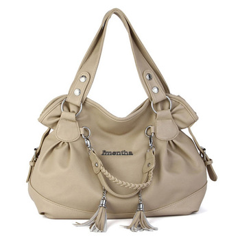 Large 2017 fashion Beige Tassel women Shoulder Bag big Casual Tote female lady hand bag shopping women leather handbags for girl