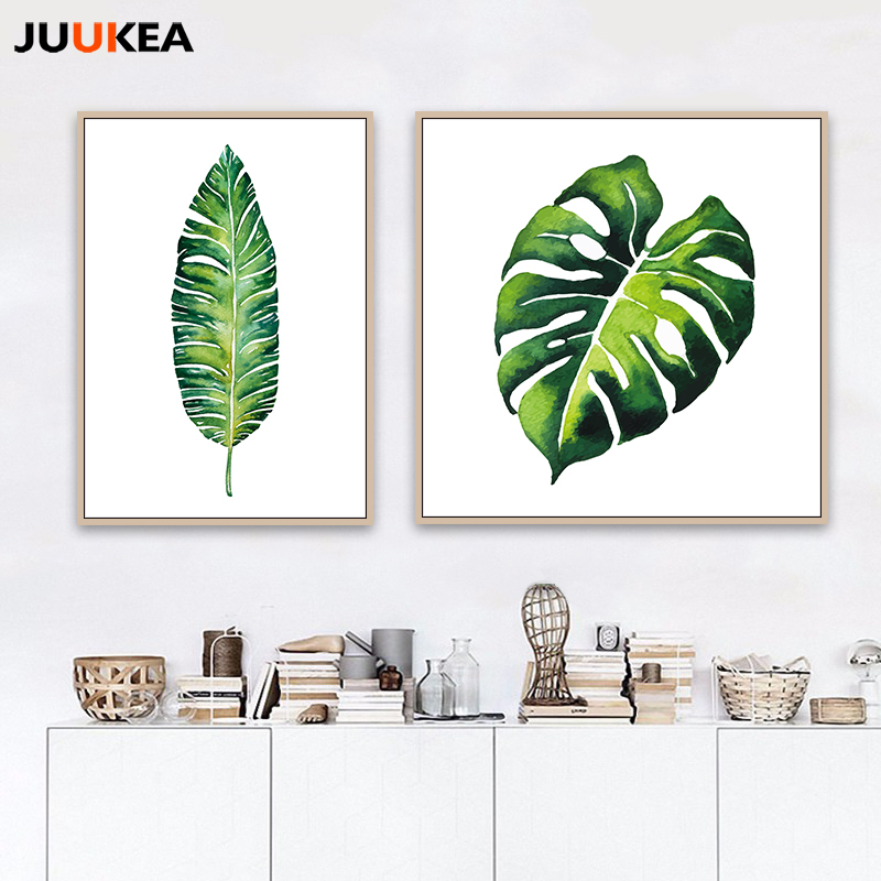 Green Nature Watercolor Tropical Leaf Canvas Art Print Poster A4 A3 Wall Pictures For Home