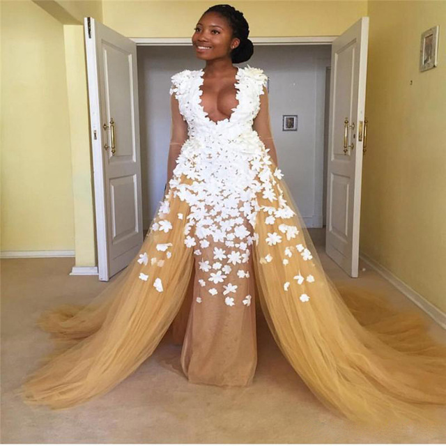Champagner Farbe Gerade Lange Afrikanische Abendkleider Mit 3d Blume ...