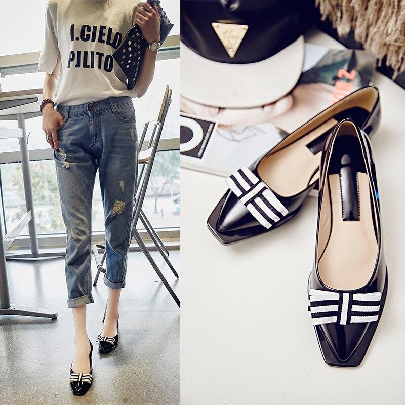 ФОТО 2017 Fashion Concise Striped Bow Sweet Woman Square Toe Casual Plaid Shoes Woman Flat Shoes Ladies Boats Shoes Sapato Feminino