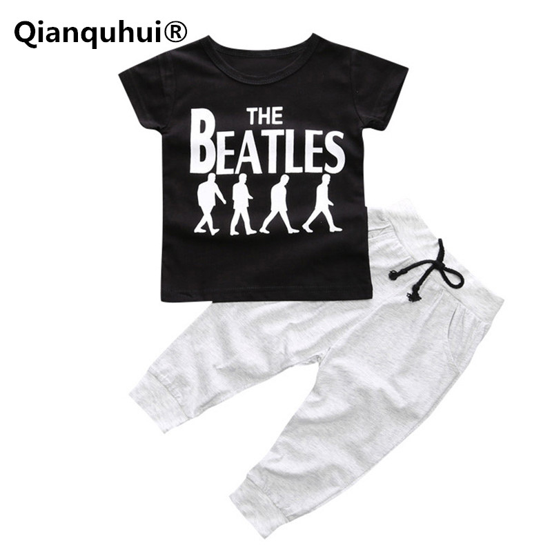 Qianquhui New Boys Clothes Kids Clothing Sets Baby Boy Short Sleeve T-shirt Tops + Long Pants Baby Clothes Suit Outfit Cotton soft solid kids boys t shirt candy color long sleeve baby girls t shirts cotton children s t shirt o neck tee tops boy clothes