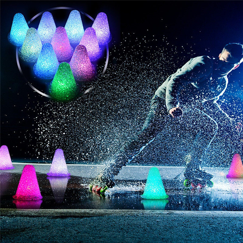 LED Luminous Noctilucent Skate Pile Cup Windproof Roller Skating Cone Agility Training Marker Slalom Skateboard Marking Cones