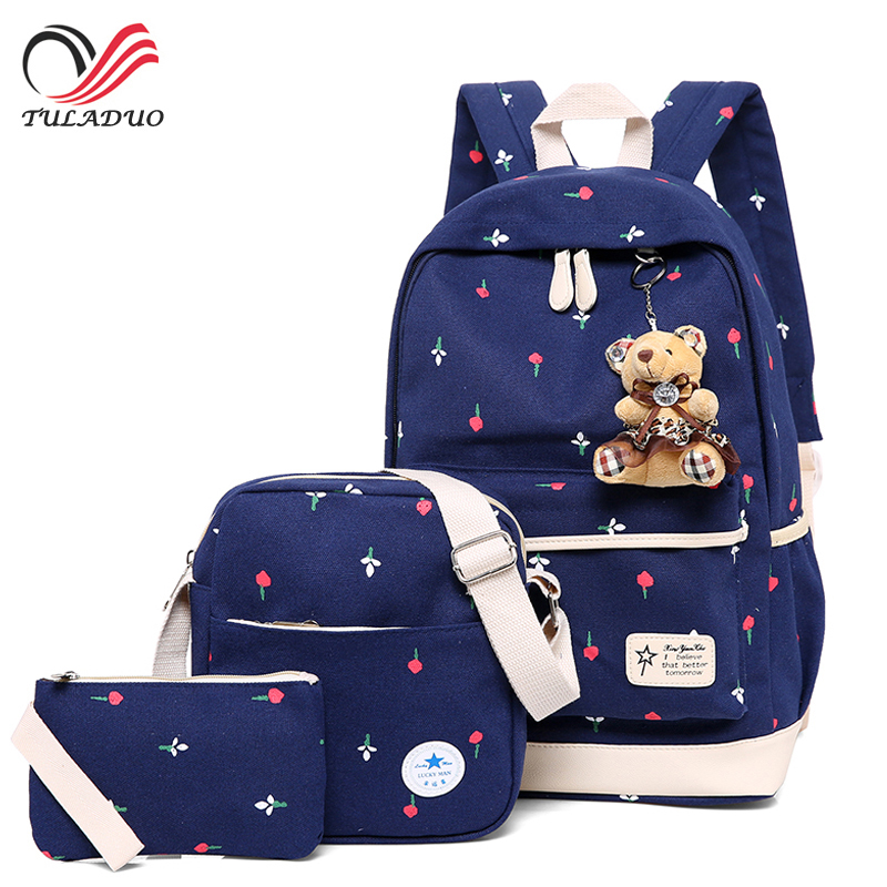3Pcs/Sets 2017 Women Backpacks Casual Printing School Backpack Female Canvas Schoolbags for Teenage Girls Travel Students Bag fengdong brand women backpack shoulder bag female school students bag travel canvas printing backpack for women teenage girls