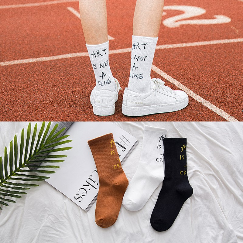 Fashion cotton male/female crew letter high quality   socks   print pattern hip hop tide brand interesting novelty white Skarpetki