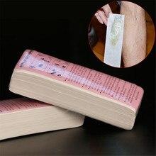 100 шт Удаление нетканого тела ткань удаление волос Воск Бумага рулоны высокого качества Эпилятор восковая ленточная бумага рулон