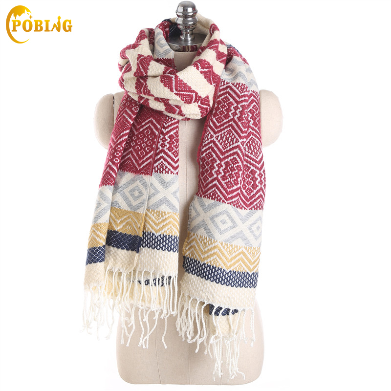 POBING Luxury Brand Winter   Scarf   Women Geometric Cashmere Warm   Scarves     Wraps   Female Shawl Long Tassel Pashmina Blanket Capes