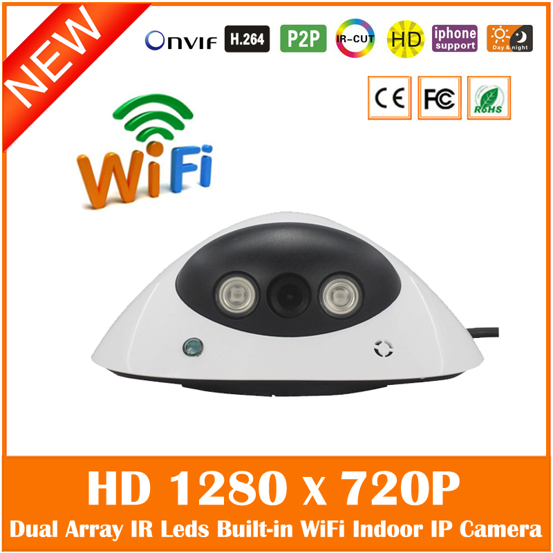 Wifi Dome Ip Camera 1.0mp Motion Detection Home Security Surveillance Cctv Cmos White Webcam Night Vision Freeshipping Hot Sale hd wifi 720p bullet ip camera 1 0mp wireless outdoor waterproof security motion detection mini webcam freeshipping hot sale
