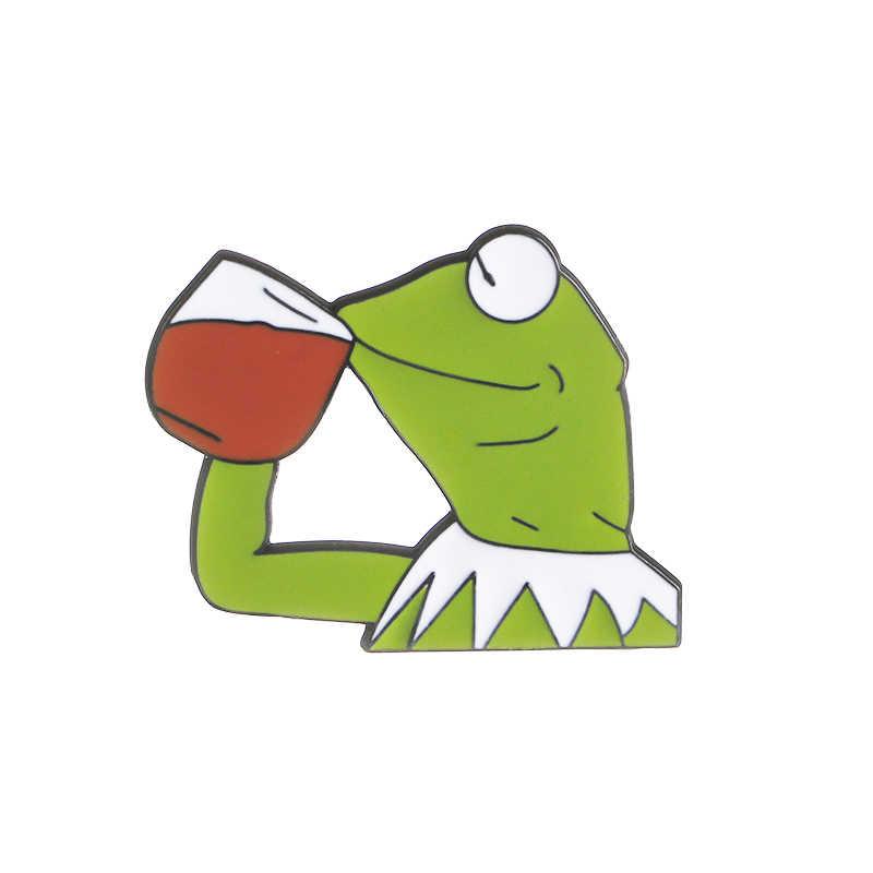 ZRM Sıcak Pepe Kurbağa broş Içme Kurbağa Pepe Pin Hissediyor Kötü Adam Broş Adam Rozetleri Pop Kültürü Emaye Pimleri takı Yaka Pin